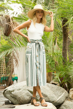 Corey Striped Button Down Skirt