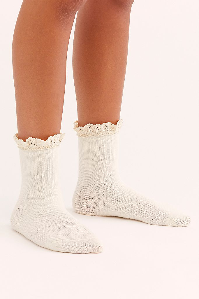 Free People Beloved Waffle Knit Ankle Sock - Ivory