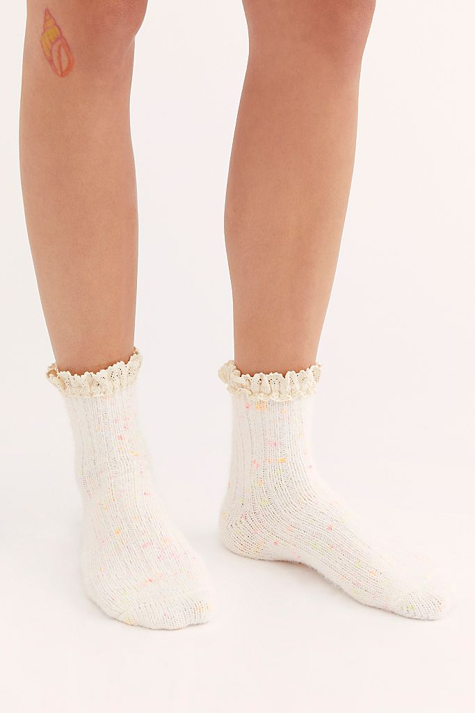 Free People Firecracker Flecked Ruffle Sock - Ivory