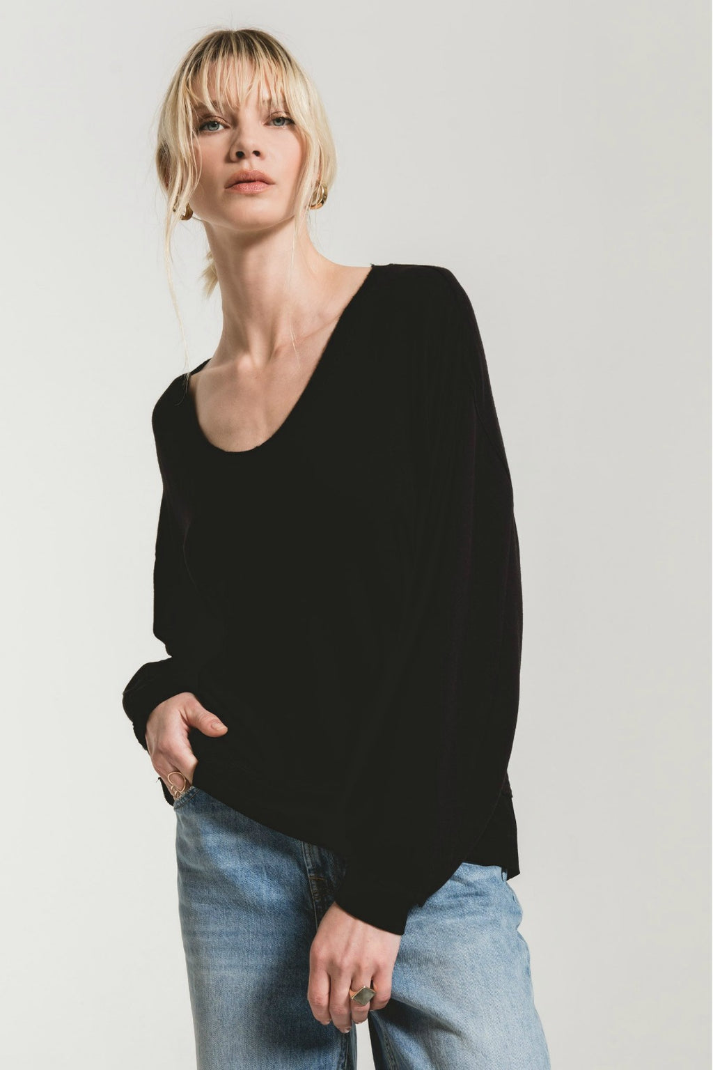 Z Supply Fleece Deep V-Neck Pullover