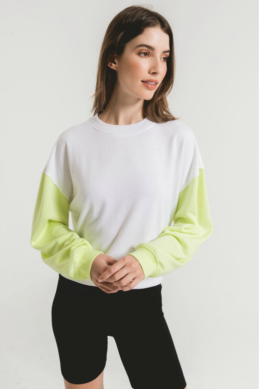Z Supply Colorblock Neon Sleeve Sweatshirt