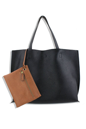 Street Level Reversible Abrielle Tote - Black/Brown