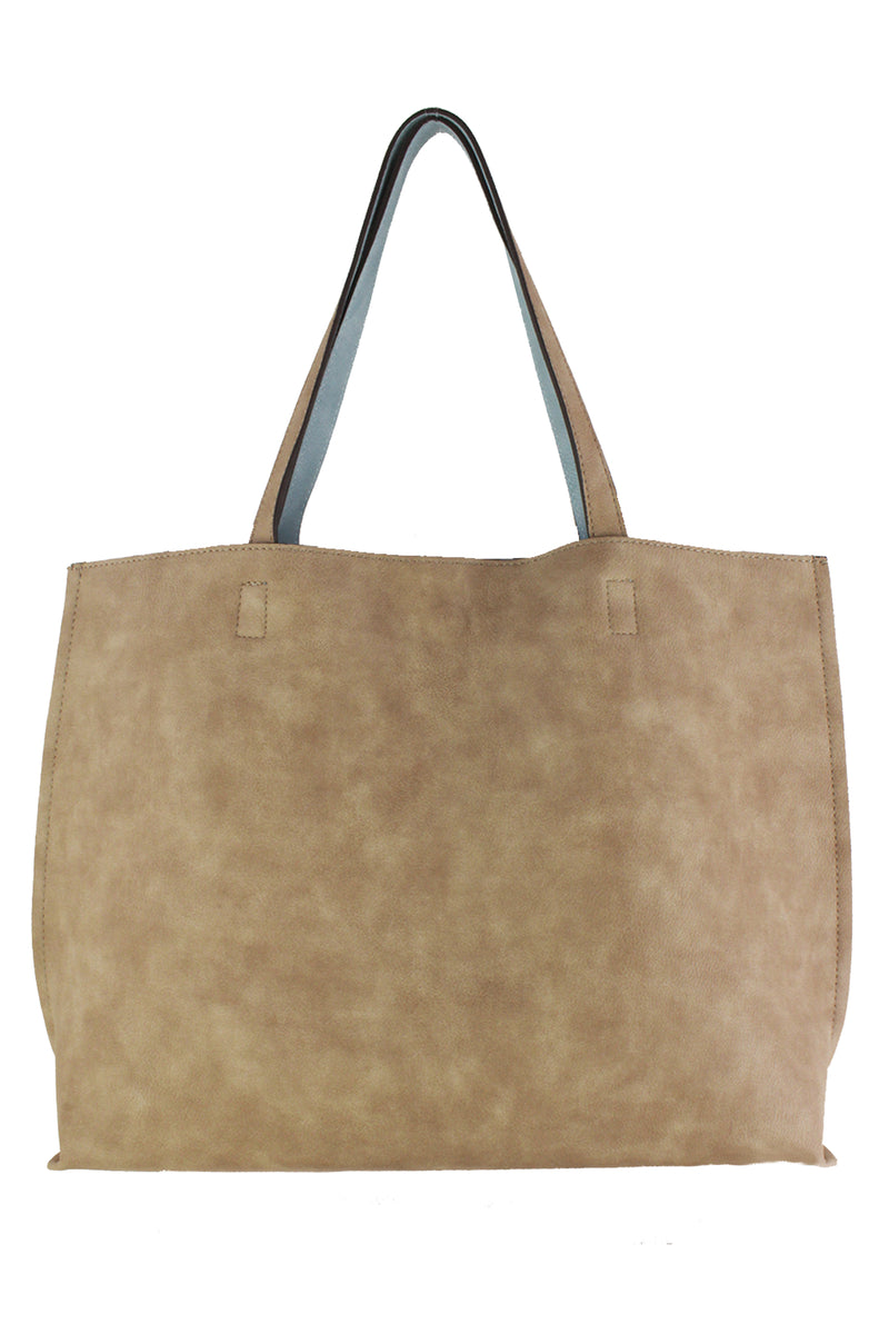 Street Level Reversible Abrielle Tote - Taupe/Sky Blue