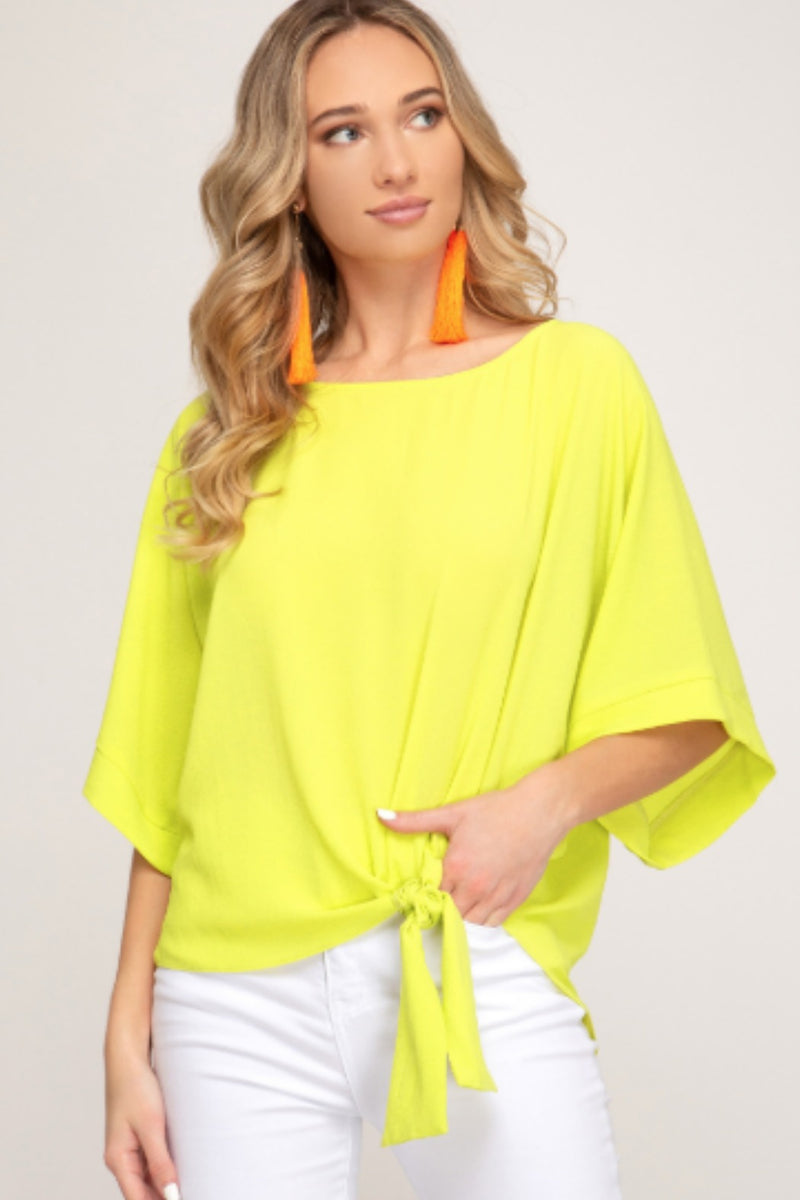Ava Kimono Sleeve Top With Side Tie Detail in Neon Yellow