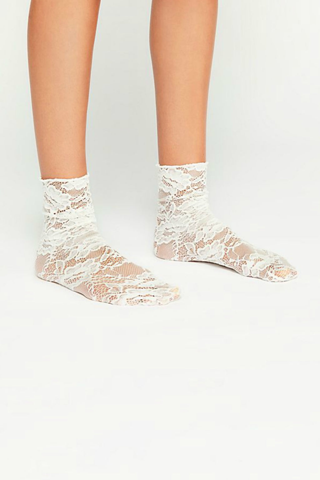 Free People Bella Lace Crew Sock - Ivory