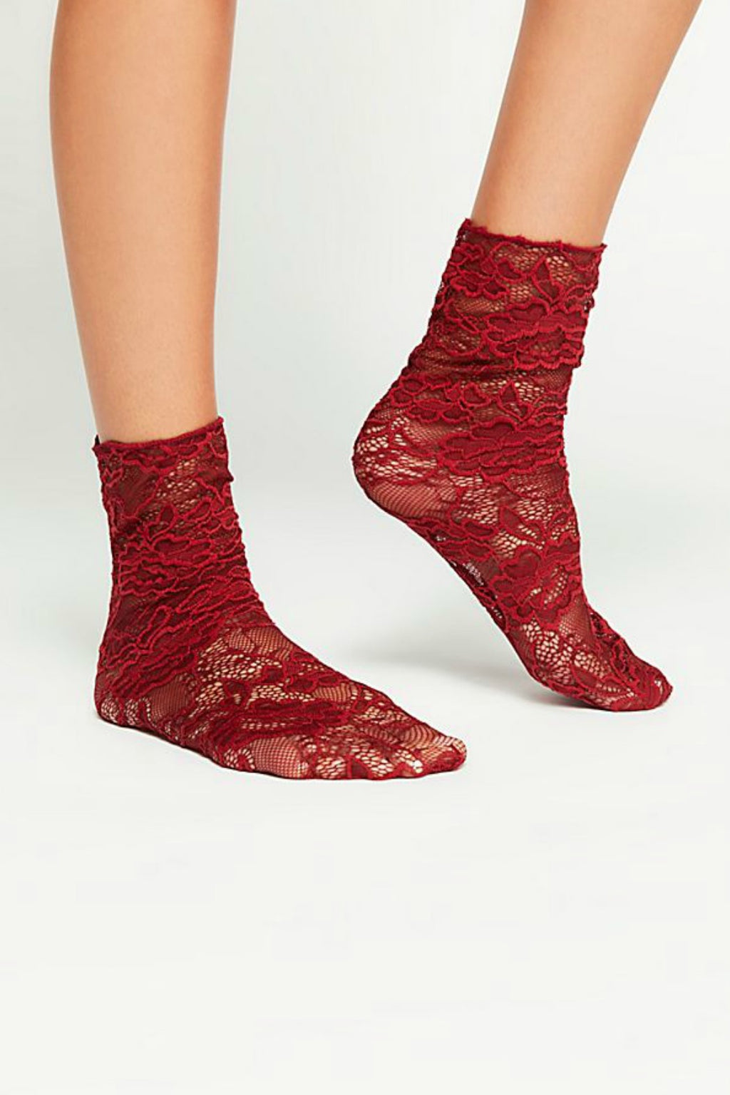 Free People Bella Lace Crew Sock - Wine
