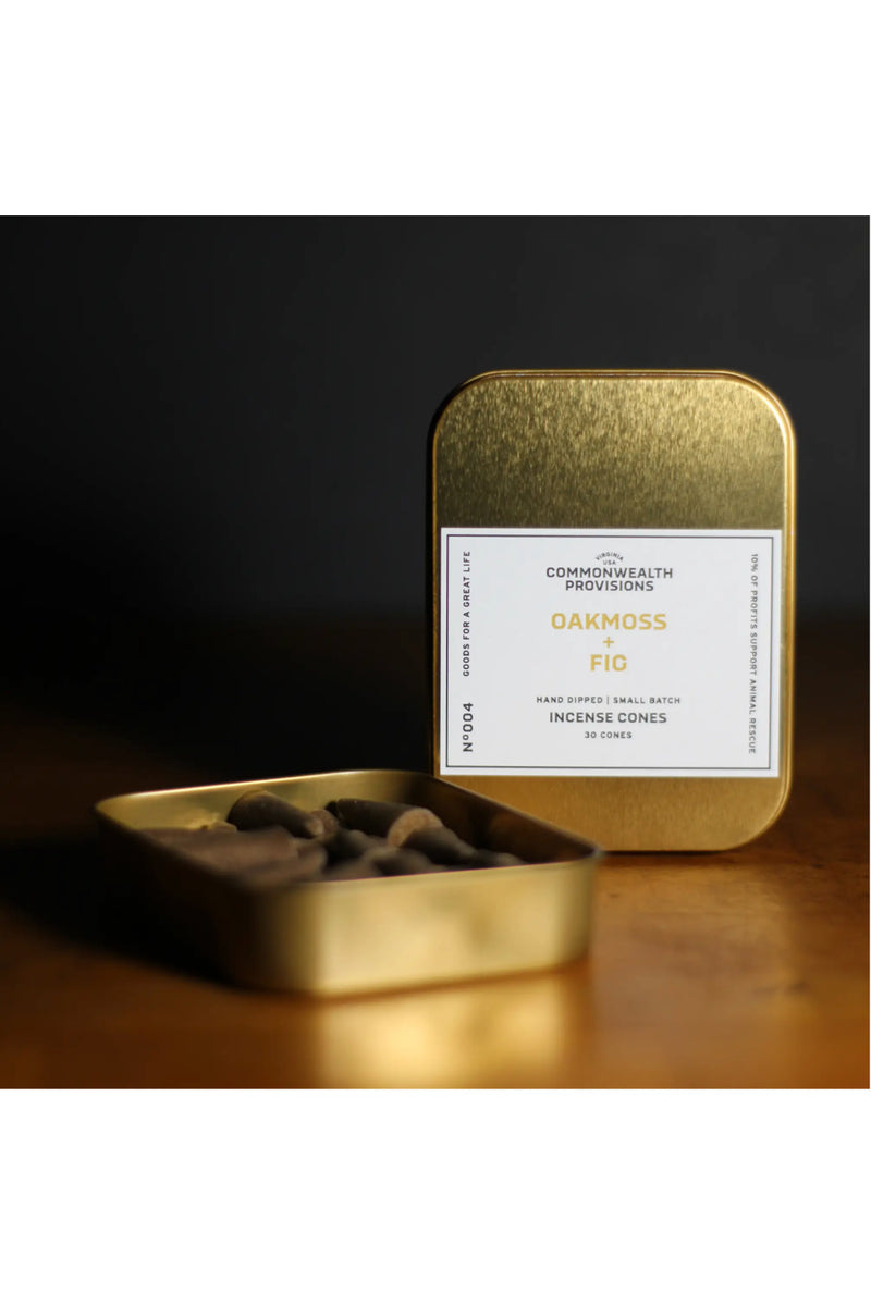 Commonwealth Provision Incense Cones - Oakmoss + Fig