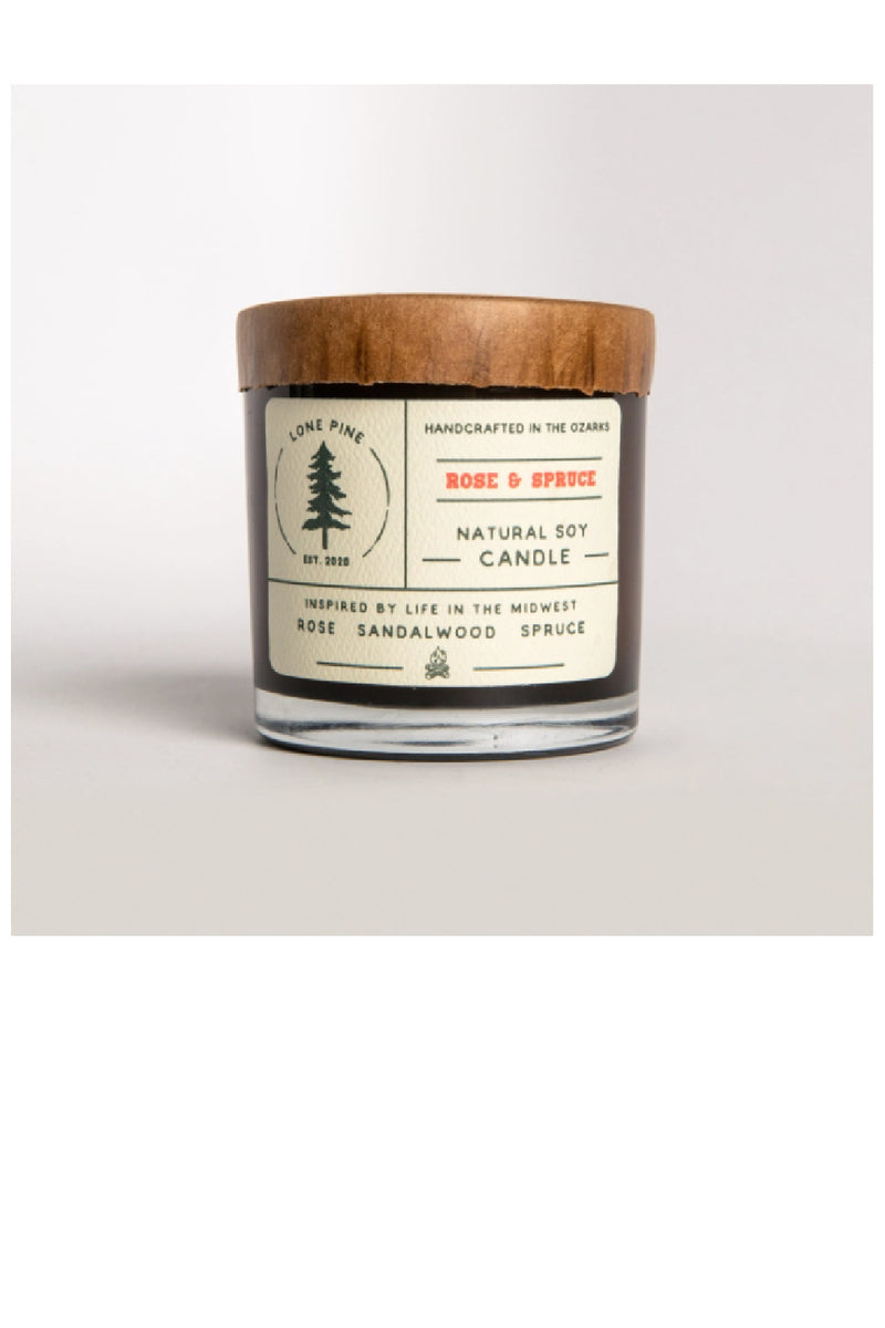 Rose & Spruce Soy Candle
