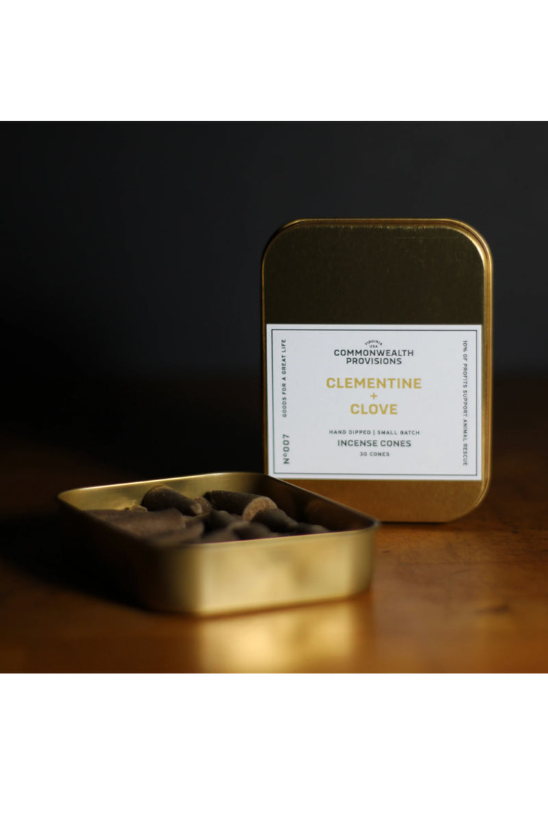 Commonwealth Provision Incense Cones - Clementine + Clove