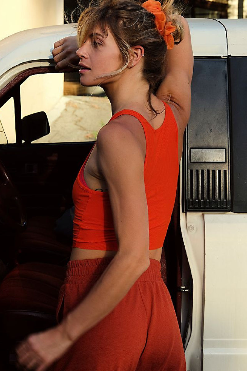 Free People High Neck Ribbed Crop Tank - Bright Orange