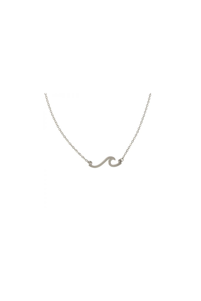 Wave Pendant Necklace - Silver