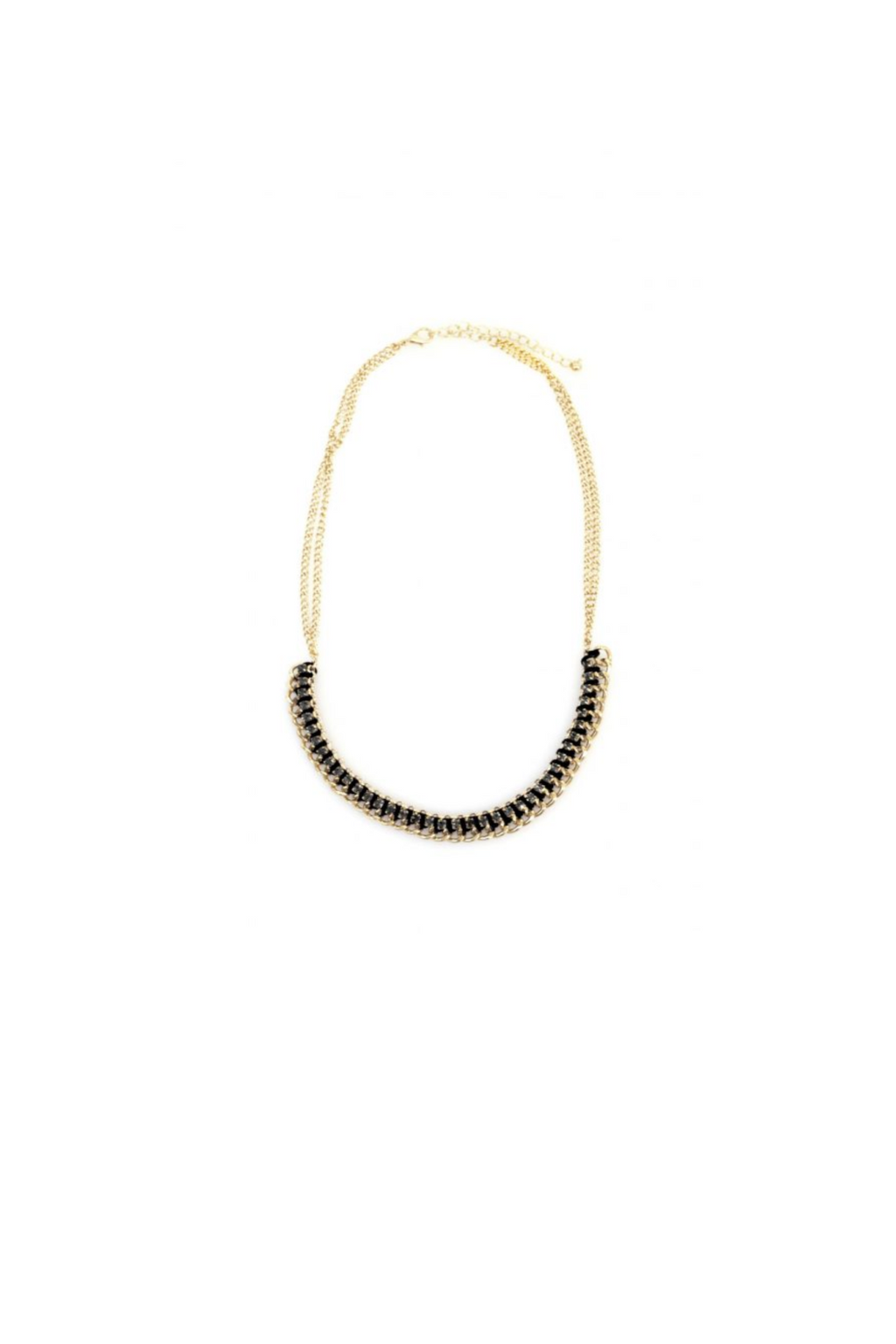 "21"" Gold Black Diamond Chain Necklace"