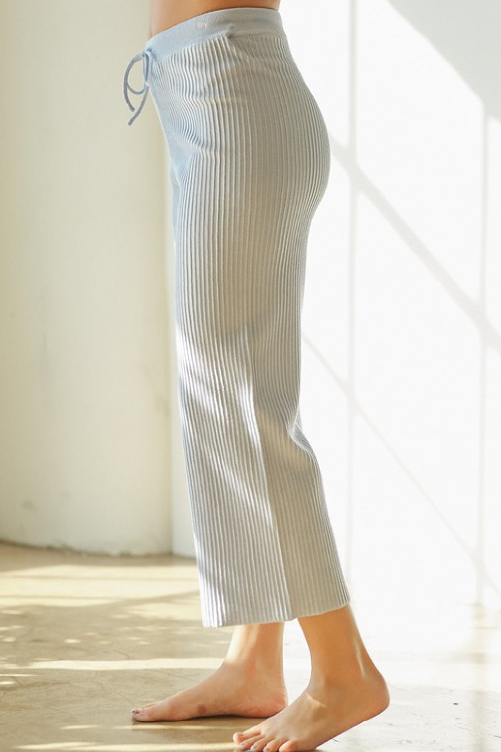Erin Rib Knit Pants in Sky Blue