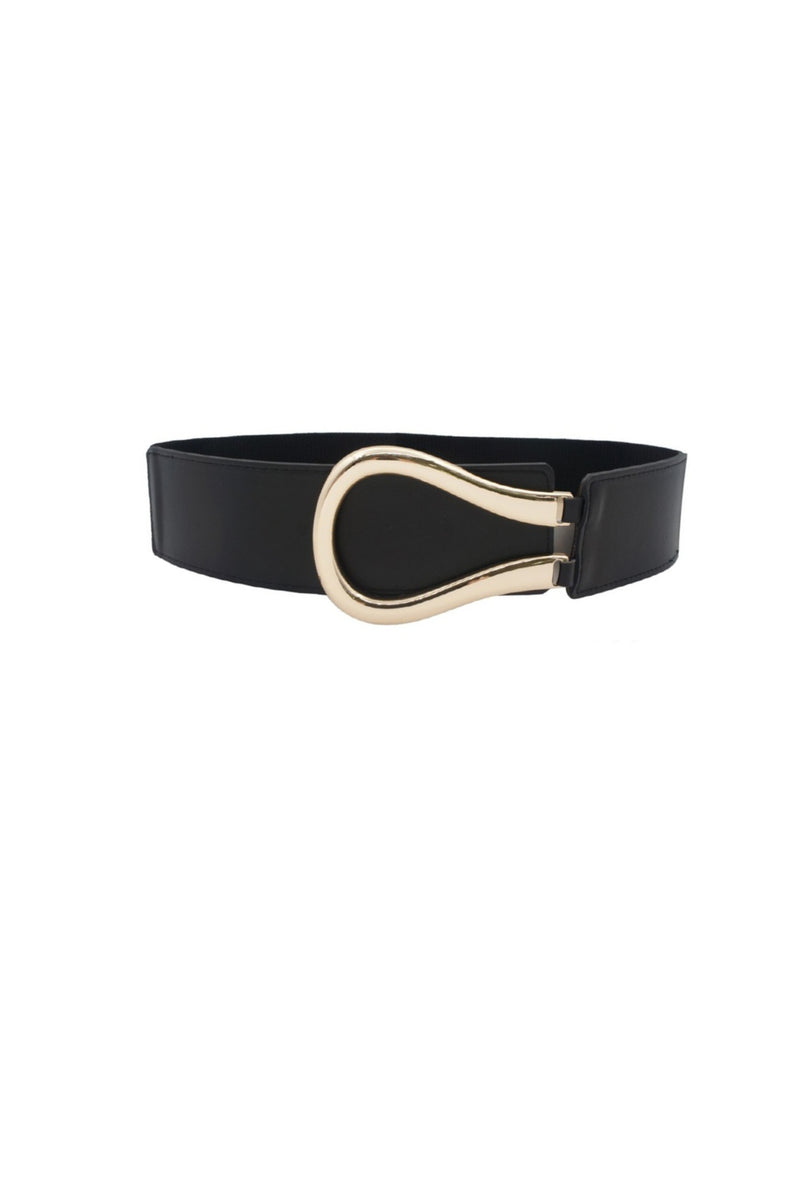 Elastic Faux Leather Belt - Black