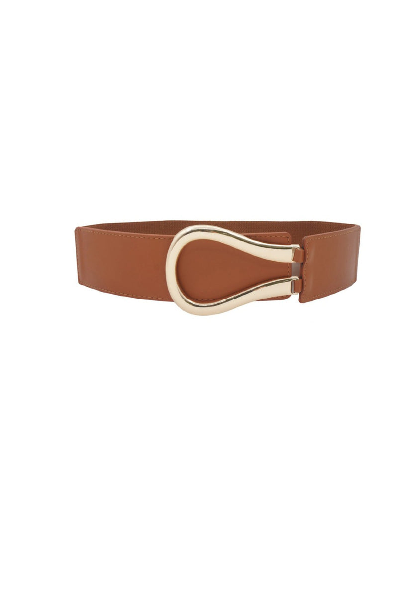 Elastic Faux Leather Belt - Tan
