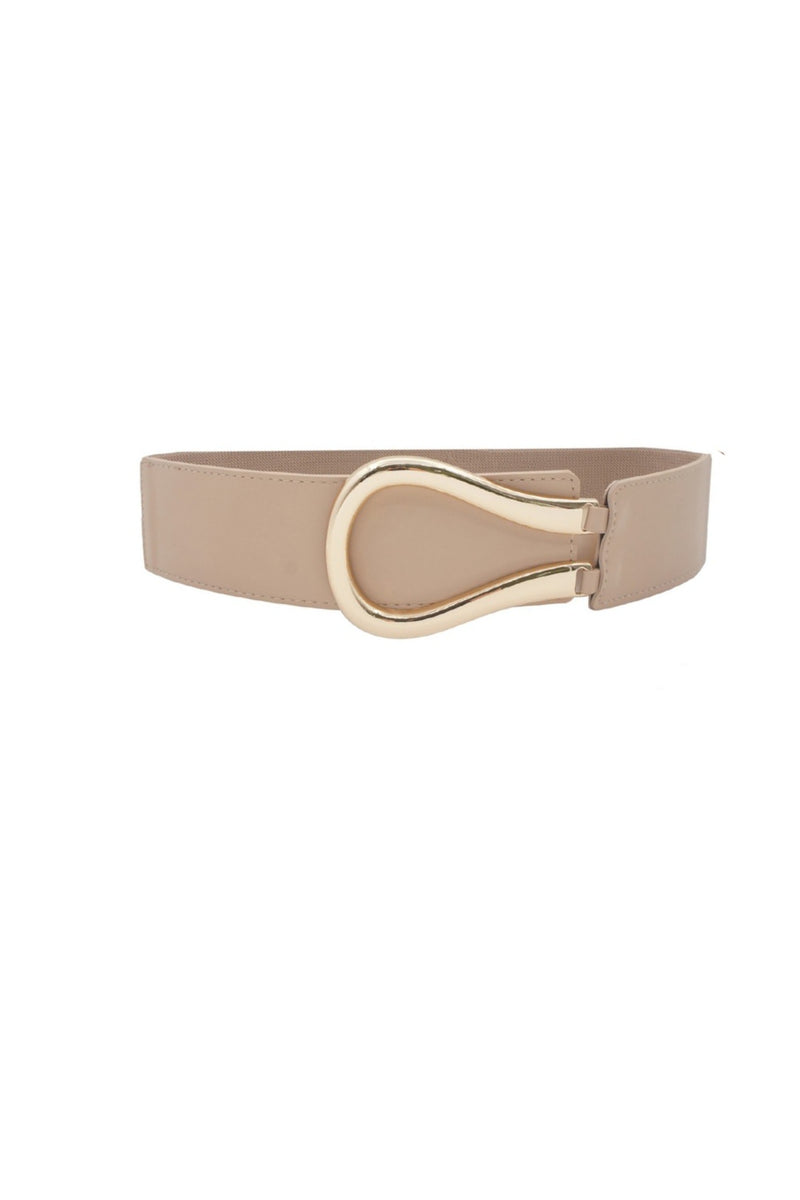 Elastic Faux Leather Belt - Beige