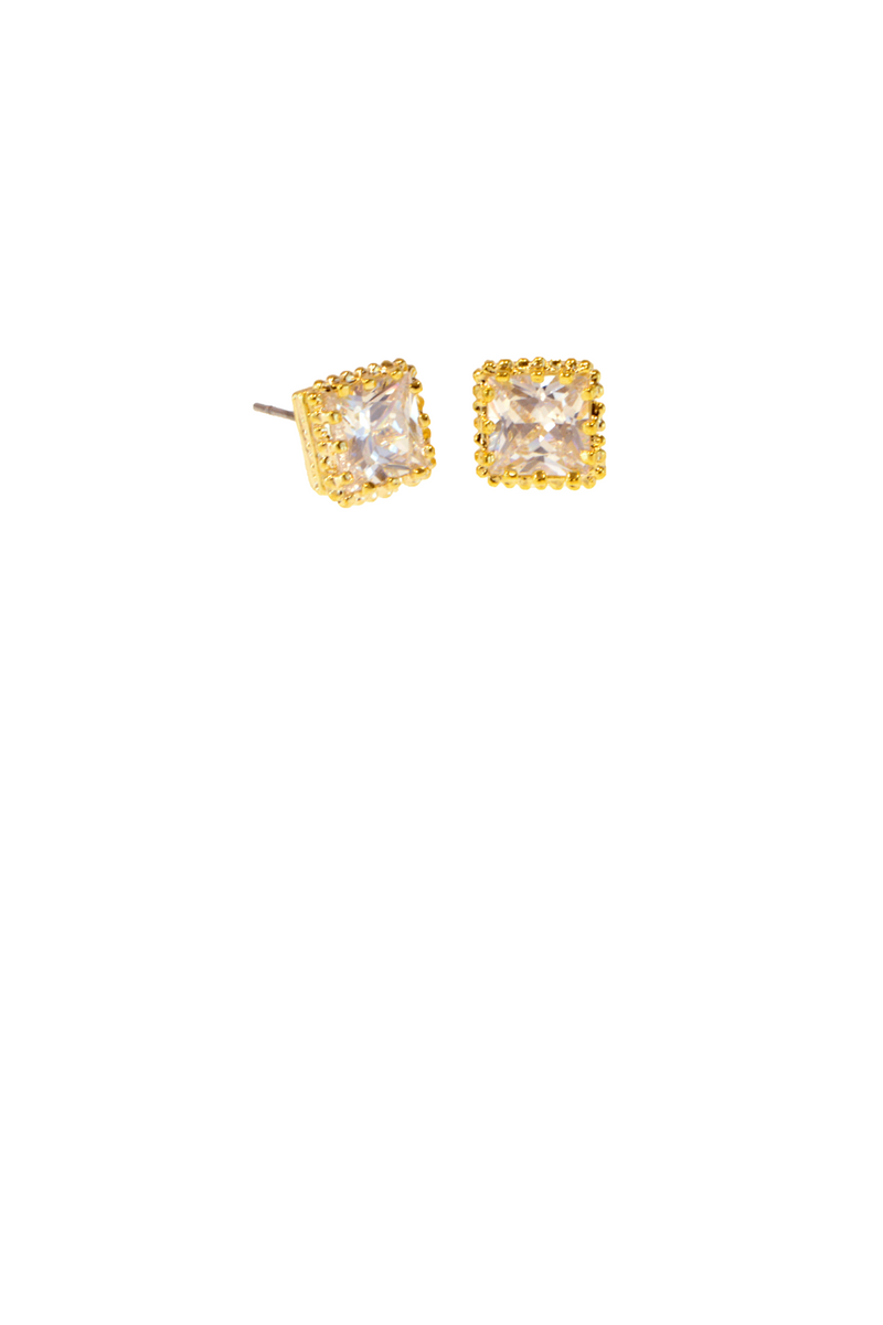 7mm Square Gold Crown CZ Earring