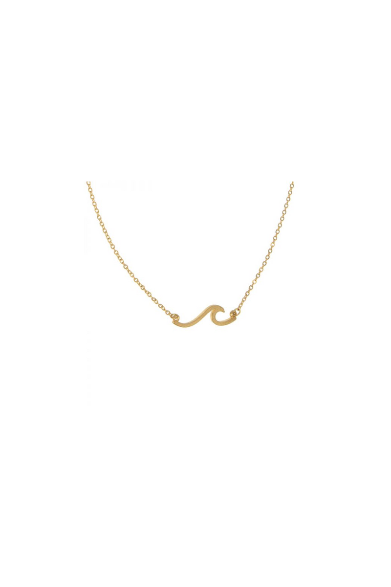 Wave Pendant Necklace - Gold