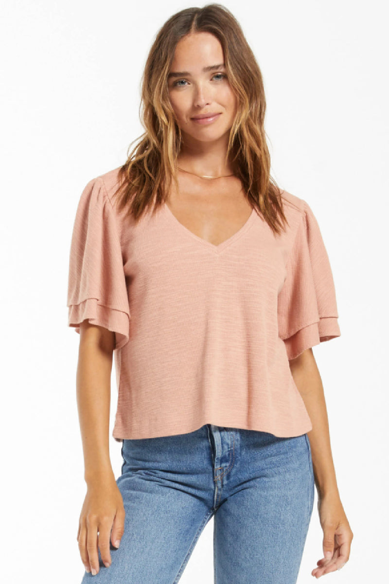 Z Supply Blake Slub Ruffle Top in Rose Mauve