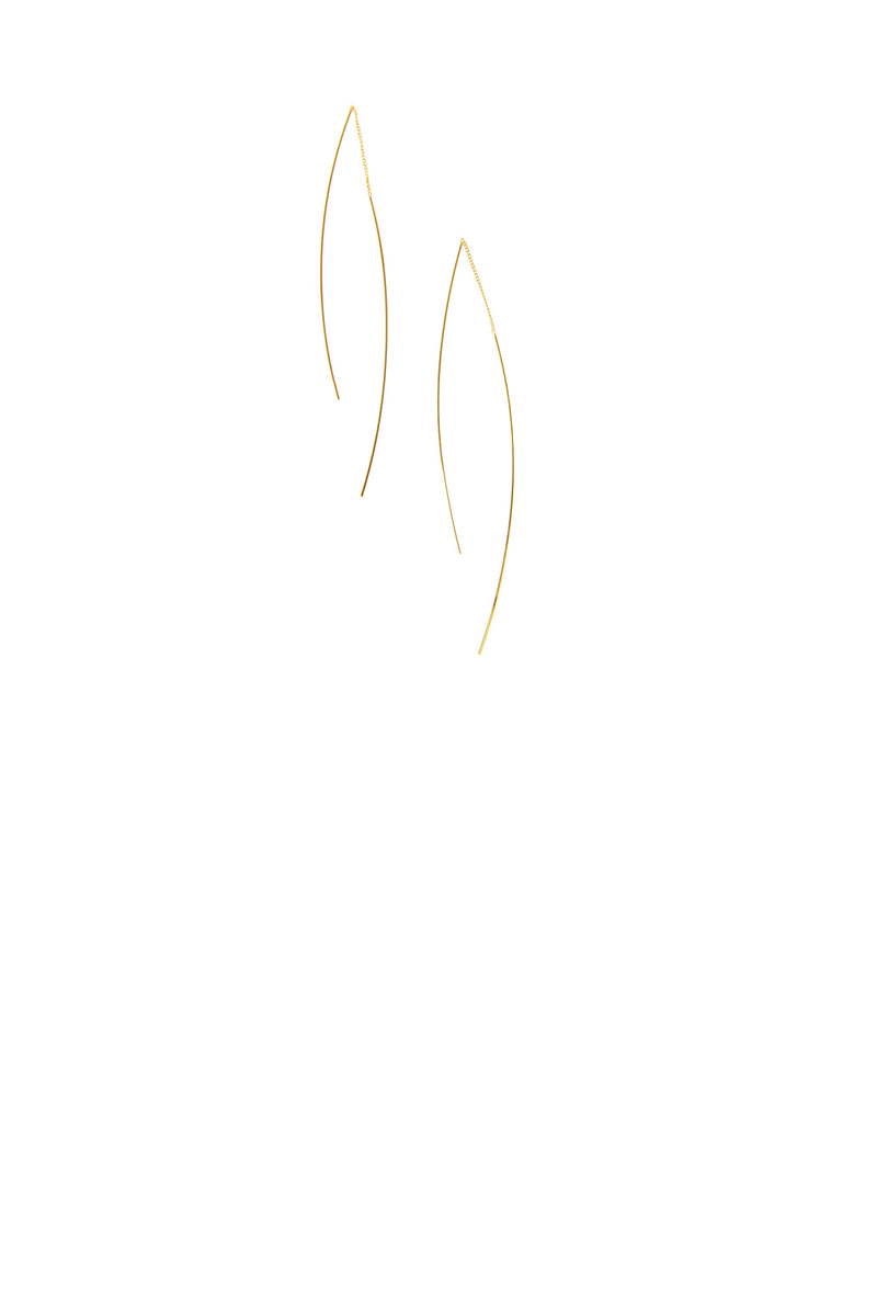 Curved Rod Threader Earring - Gold