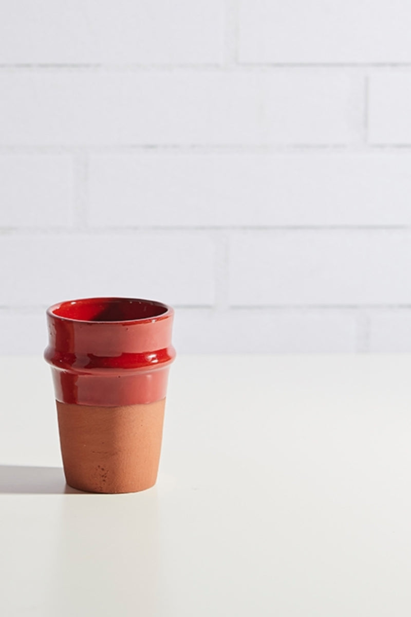 Moroccan Beldi Ceramic Cup - SMALL Red
