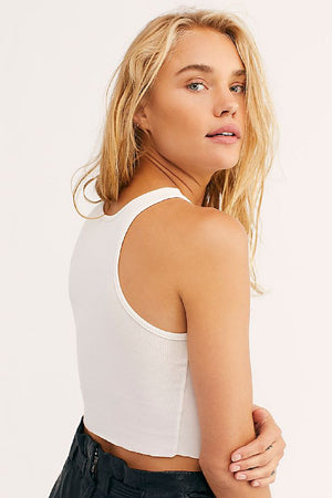 Free People High Neck Ribbed Crop Tank - White