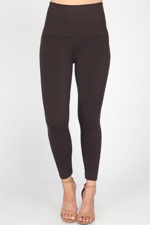 M.Rena Cropped Tummy Tuck Legging - Brown