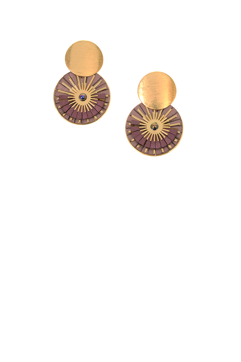 Flower Burst Post Earring - Mauve/Gold