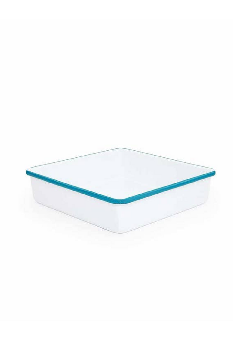 Crow Canyon Home Square Brownie Pan - Turquoise & White
