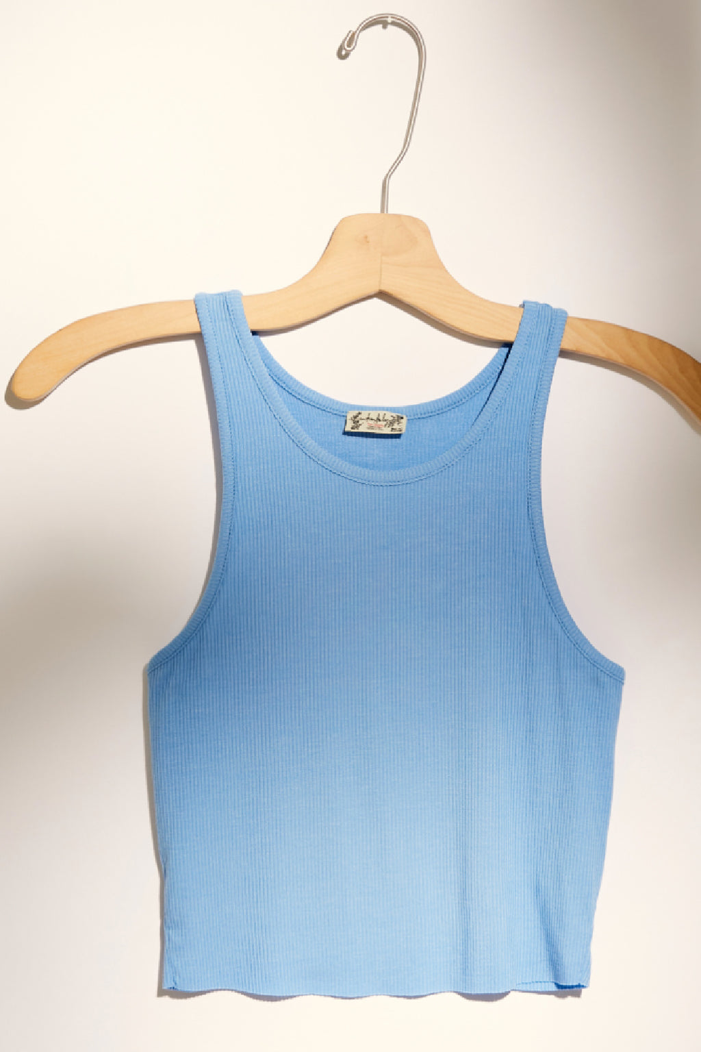 Free People High Neck Ribbed Crop Tank - Sky Blue