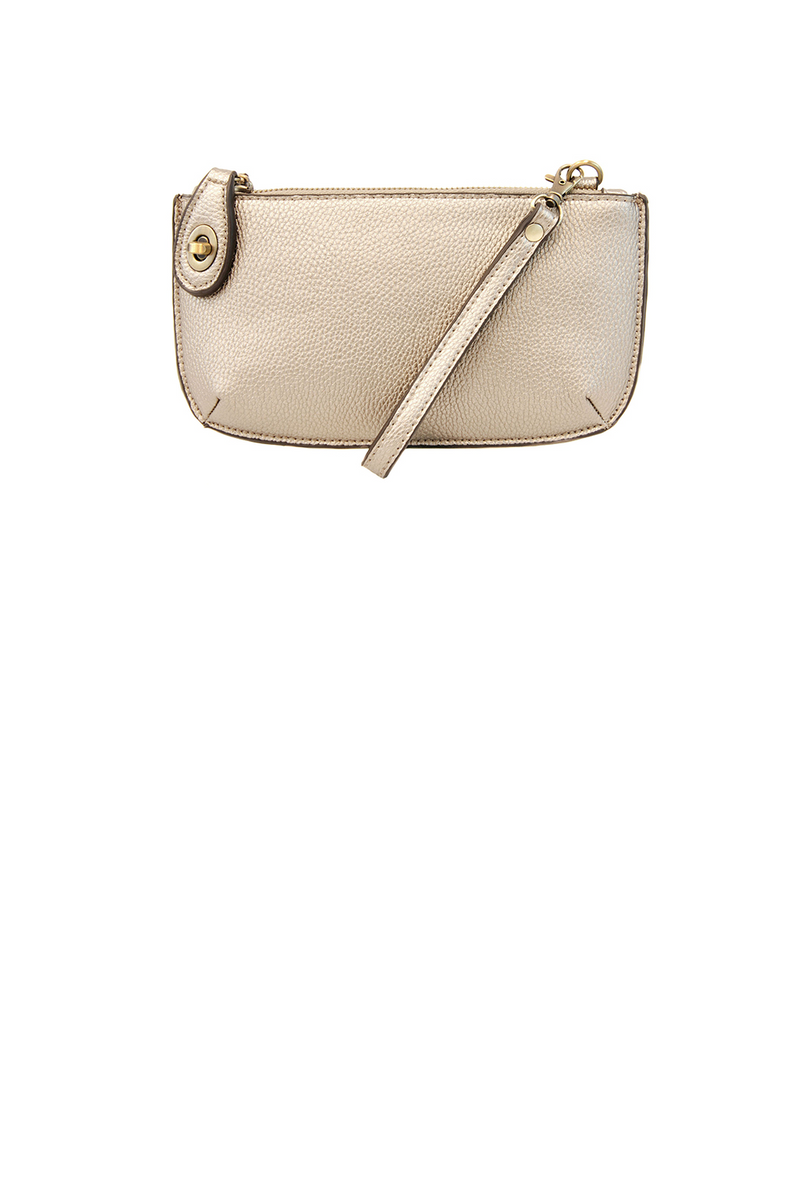 Mini Crossbody Wristlet- Metallic Pearl