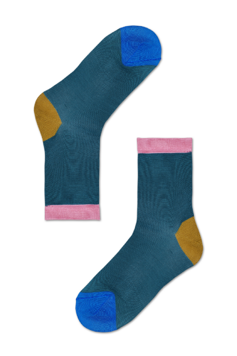Happy Socks Grace Ankle Sock - Teal/Mustard/Pink