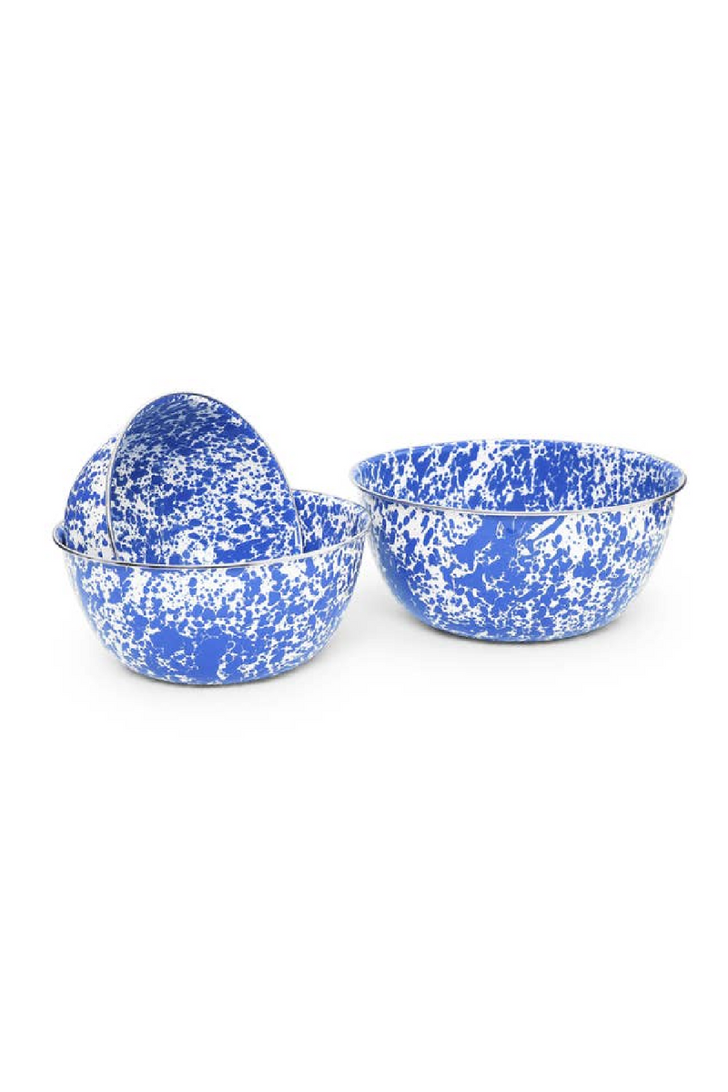 Crow Canyon Home Mixing Bowl - Blue  Splatter - Set of 3