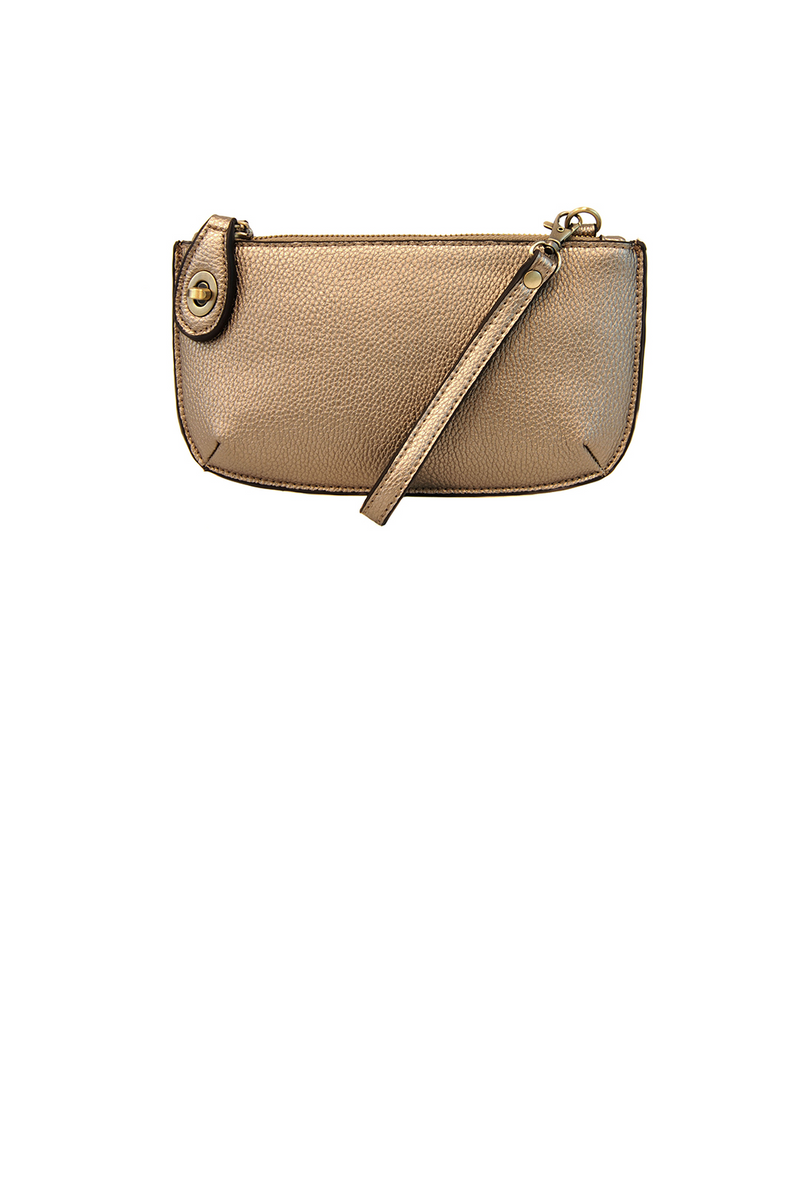 Mini Crossbody Wristlet- Metallic Light Bronze