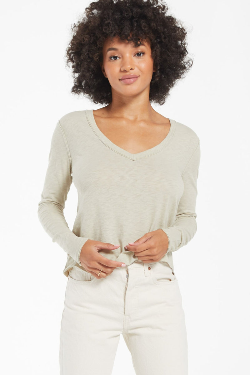 Z Supply Kira Slub V Neck Long Sleeve Tee