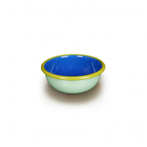 Bornn Enamelware Colorama 12 oz. Bowl - Mint/Electric Blue