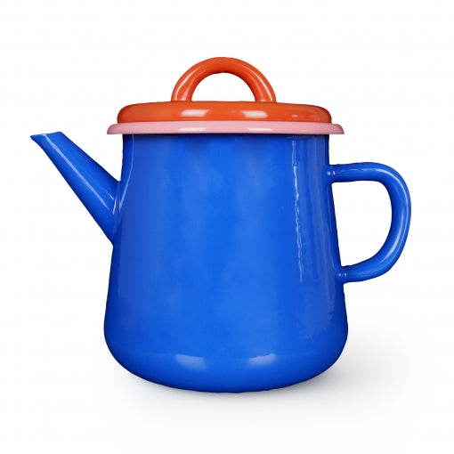 Bornn Enamelware 30 oz. Teapot - Electric Blue/Coral