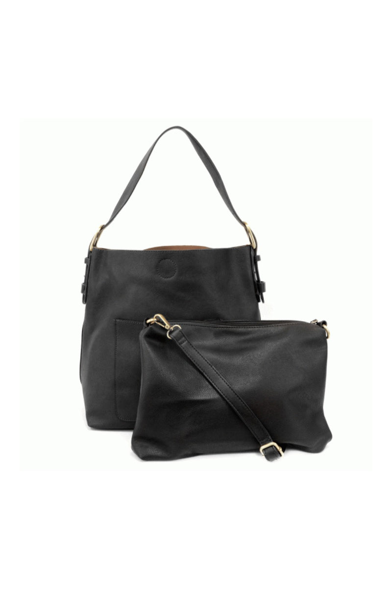 Joy Susan Classic Hobo Handbag - Black Lux w/ Black Handle