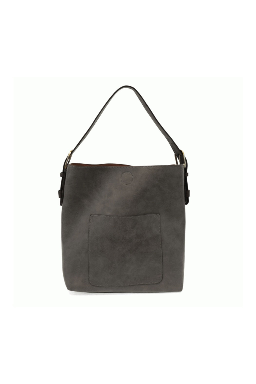 Joy Susan Classic Hobo Handbag in Charcoal w/ Black Handle