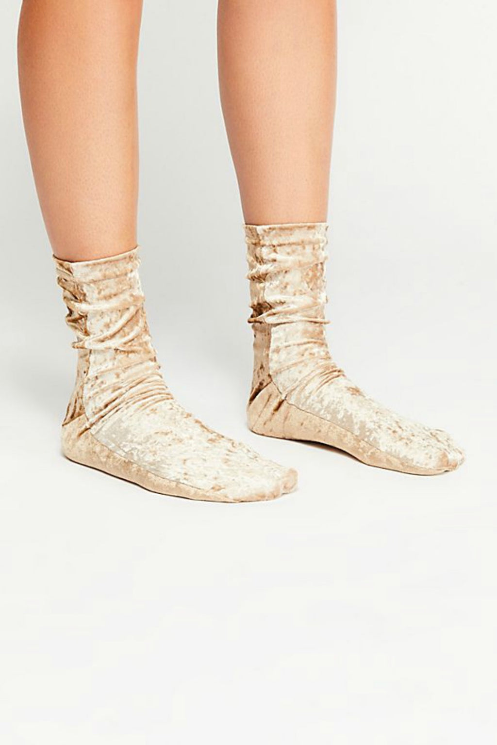 Free People Colorblock Velvet Sock -Ivory