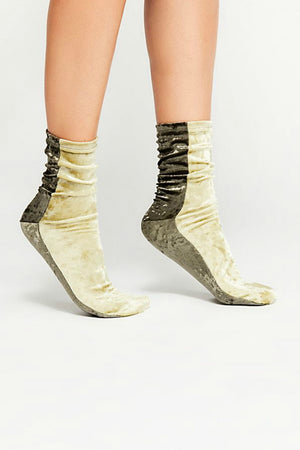 Free People Colorblock Velvet Sock - Moss