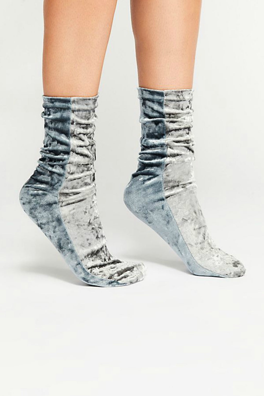 Free People Colorblock Velvet Sock - Silver