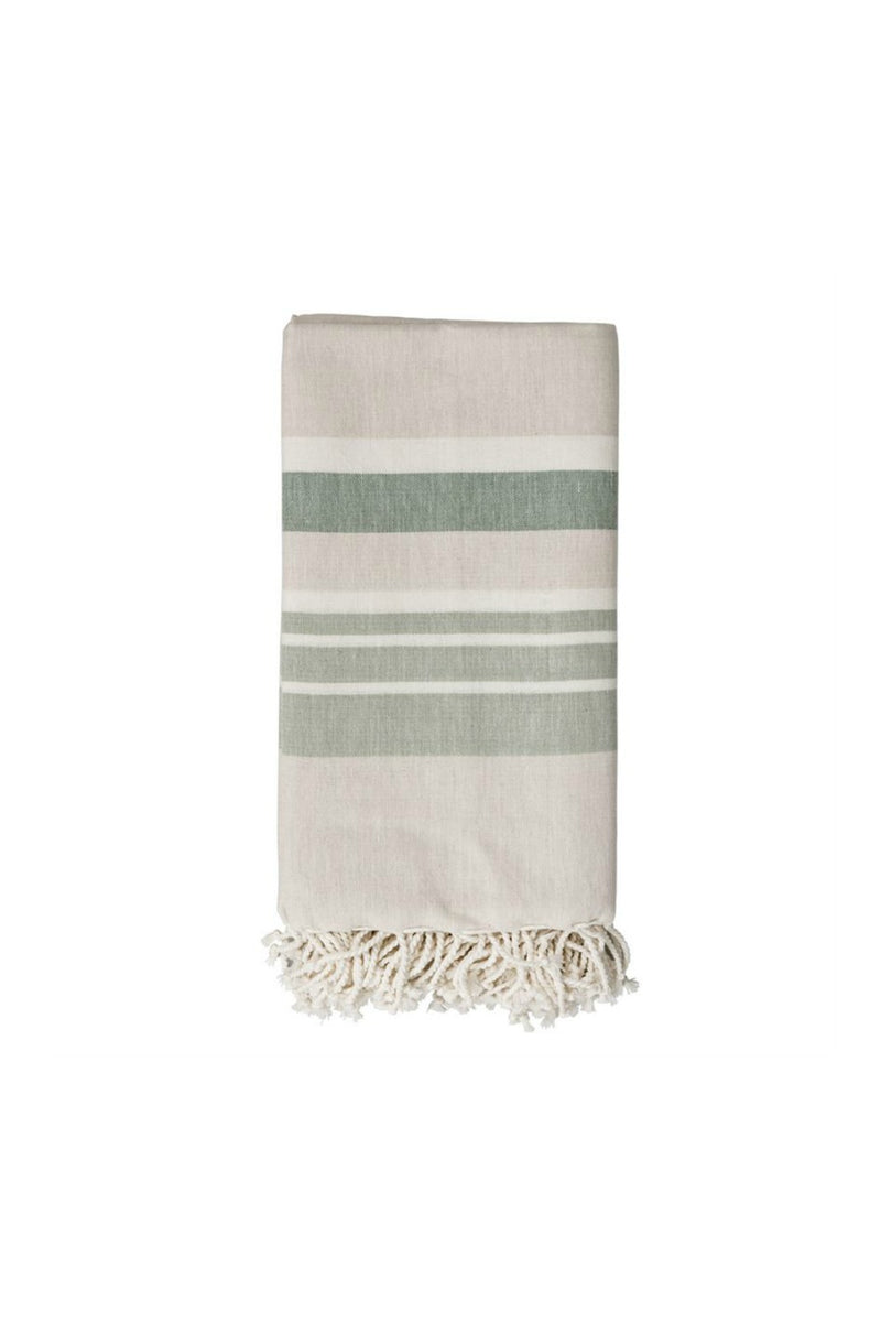 Bloomingville Cotton Woven Throw - Beige w/ Green Stripes