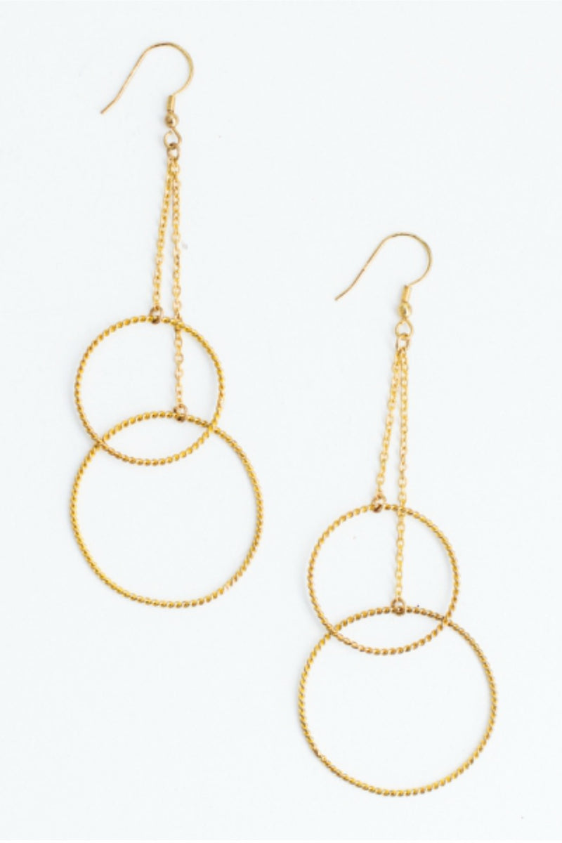 Mata Traders Double Down Earrings in Gold