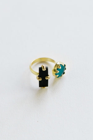 Mata Traders Dual Shape Ring in Teal