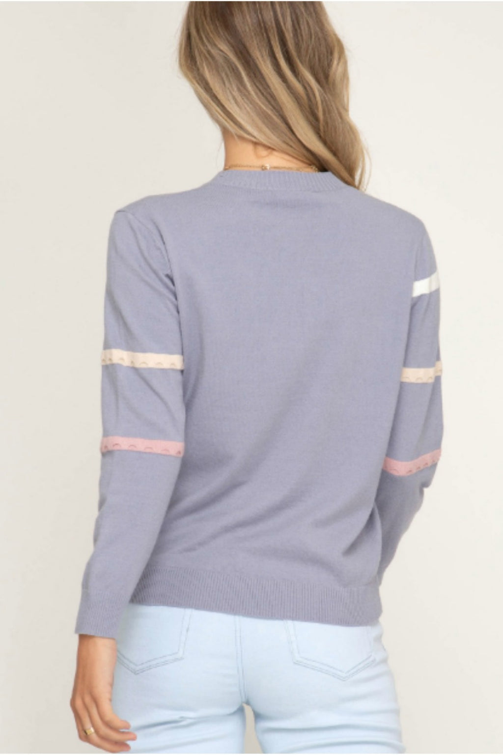 Eleanor Pullover Stripe Sweater in Blue Grey