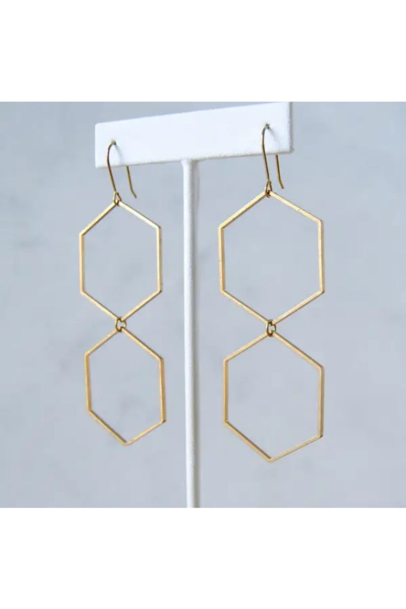 Double Hexagon Earrings - Brass