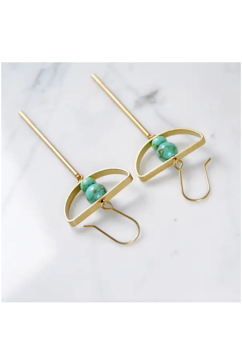 Half Moon Bar Earrings - Teal