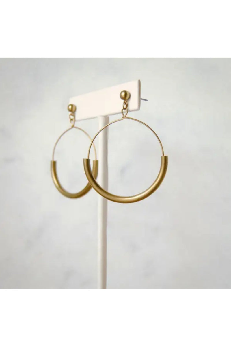 Large Arc Earrings - Brass