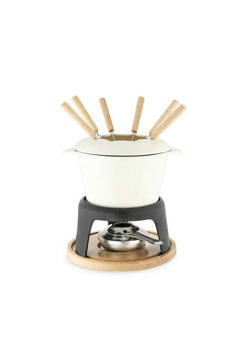 Cast Iron Fondue Pot - White